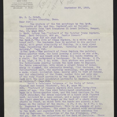 Letter from M. Knoedler & Co. to Henry Clay Frick, 28 September 1909 [page 1 of 3]