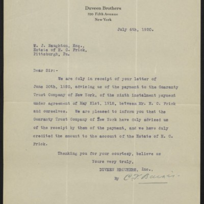 Letter from Duveen Brothers to W.J. Naughton, 6 July 1920