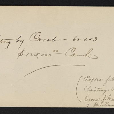 """Note regarding papers for purchase of Corot's """"Le Lac,"""" 11 October 1906"""
