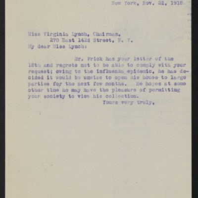Letter from [Alice Braddel] to Virginia Lynch, 21 November 1918
