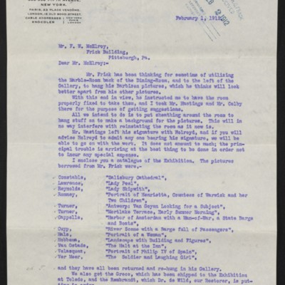 Letter from C.S. Carstairs to F.W. McElroy, 1 February 1912