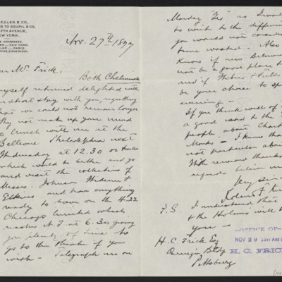 Letter from Roland F. Knoedler to Henry Clay Frick, 27 November 1897