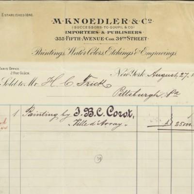 M. Knoedler & Co. Invoice, 27 August 1898
