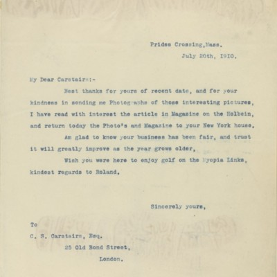 Letter from [Henry Clay Frick] to Charles Carstairs, 20 July 1910