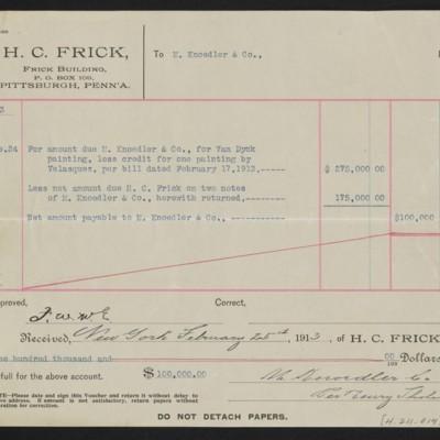 "Voucher to M. Knoedler & Co. for Van Dyck's ""Portrait of James Stanley,"" 24 February 1913 [back]"