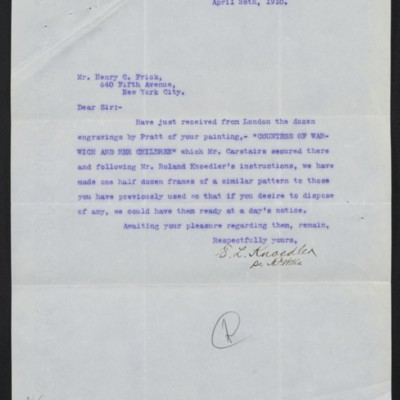 Letter from E.L. Knoedler to Henry Clay Frick, 28 April 1910