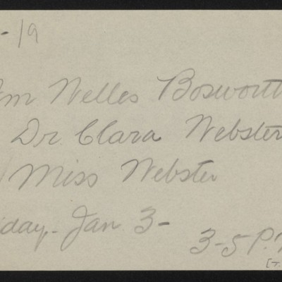 Note re visit from William Welles Bosworth and Clara and Miss Webster, 31 December 1919