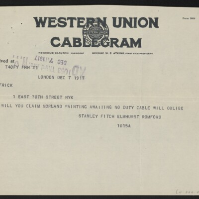 Cable from Stanley Fitch to [H.C.] Frick, 7 December 1917