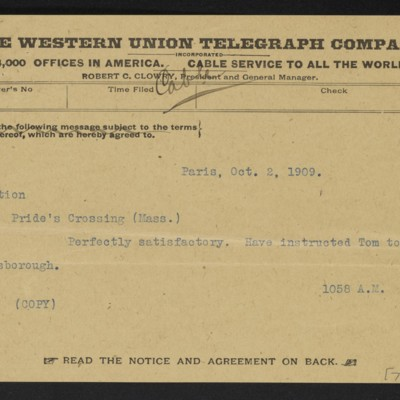 Copy of a cable from [M. Knoedler & Co.] to [Henry Clay Frick], 2 October 1909 [front]