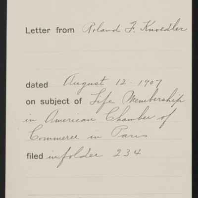 Memorandum, Office of Henry Clay Frick, 27 August 1907