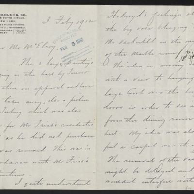 Letter from Charles S. Carstairs to F.W. McElroy, 3 February 1912