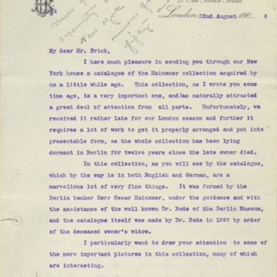 Letter from Henry J. Duveen to Henry Clay Frick, 22 August 1906