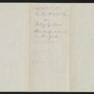 Letter from A. Braddel to M. Knoedler & Co., 21 September 1914 [back]