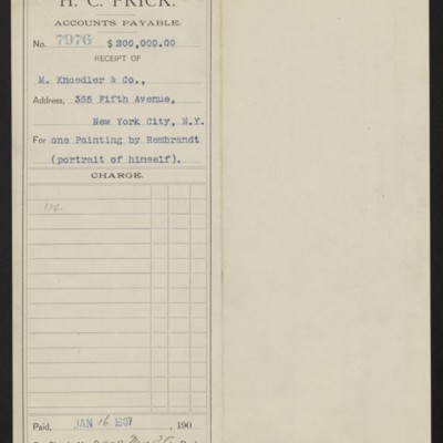 Voucher from Henry Clay Frick to M. Knoedler & Co., 16 January 1907