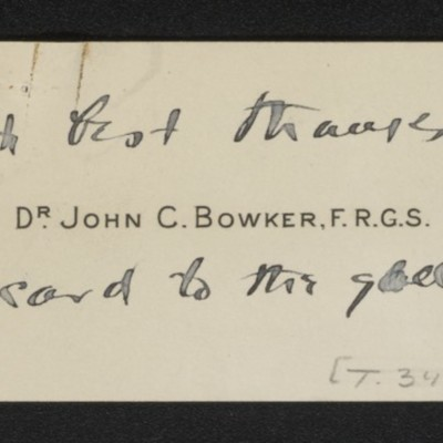 Calling card of John C. Bowker, inscribed with a note of thanks, circa October 1919