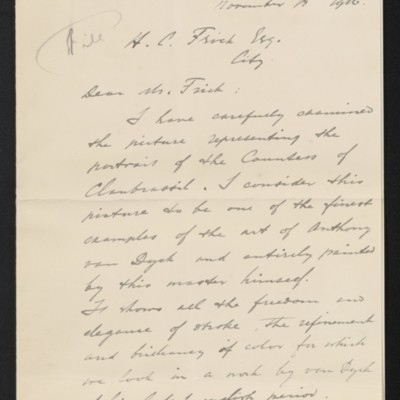 Letter from Carel F.L. de Wild to Henry Clay Frick, 18 November 1916