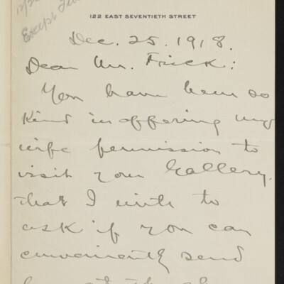 Letter from Walker D. Hines to [H.C.] Frick, 25 December 1918 [page 1 of 2]