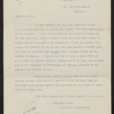 Copy of a letter from Charles Carstairs to [Henry Clay] Frick, 7 September 1909 [front]