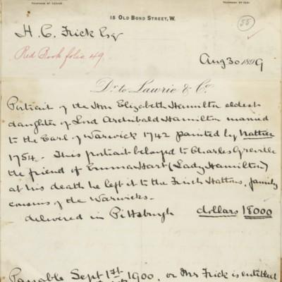 Lawrie & Company Invoice, 30 August 1899