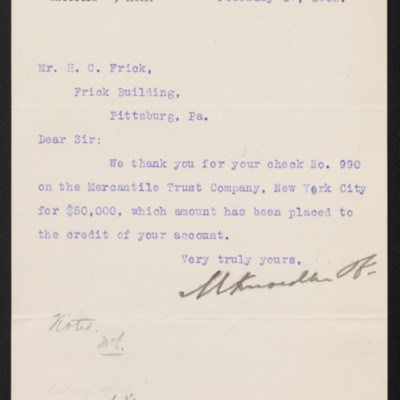 Letter from M. Knoedler & Co. to Henry Clay Frick, 17 February 1903