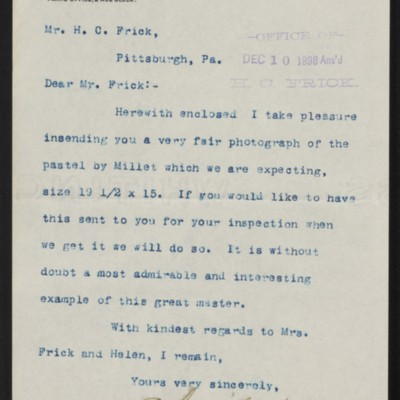 Letter from Charles L. Knoedler to Henry Clay Frick, 8 December 1898