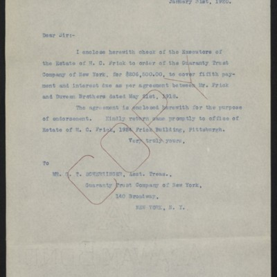 Letter from [Office of Estate of Henry Clay Frick] to G.T. Scherzinger, 31 January 1920