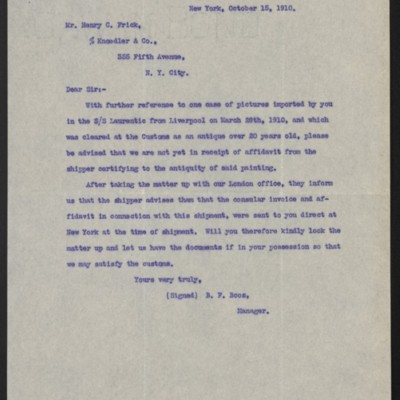 Letter from B.F. Boos to Henry Clay Frick, 15 October 1910