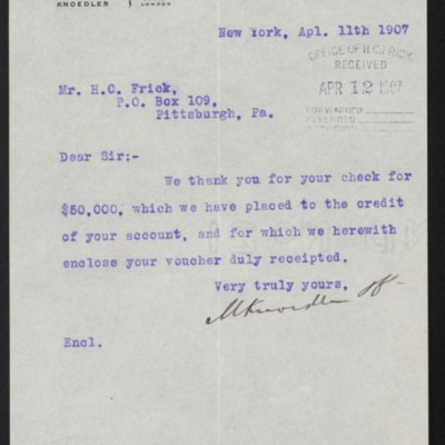 Letter from M. Knoedler & Co. to Henry Clay Frick, 11 April 1907