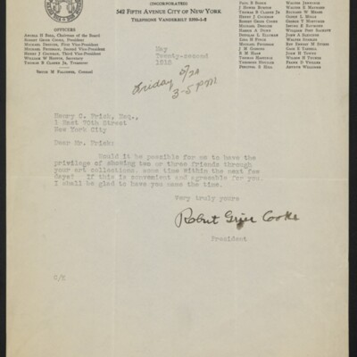 Letter from Robert Grier Cooke to Henry C. Frick, 22 May 1918