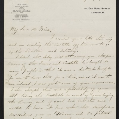 Letter from Charles C. Carstairs to Henry Clay Frick, 21 July 1908 [page 1 of 4]