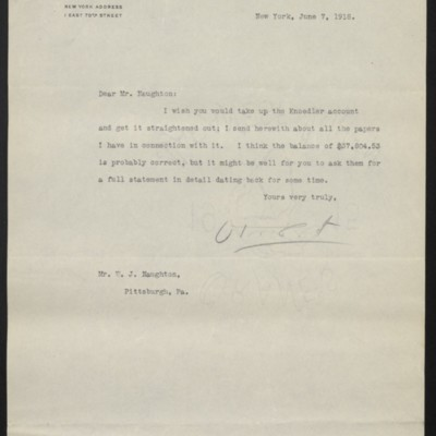 Letter from H.C. Frick to W.J. Naughton, 7 June 1918