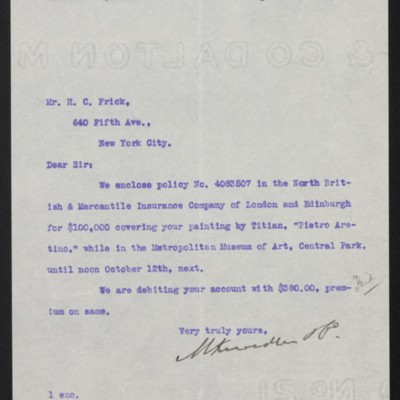 Letter from M. Knoedler & Co. to Henry Clay Frick, 21 April 1906