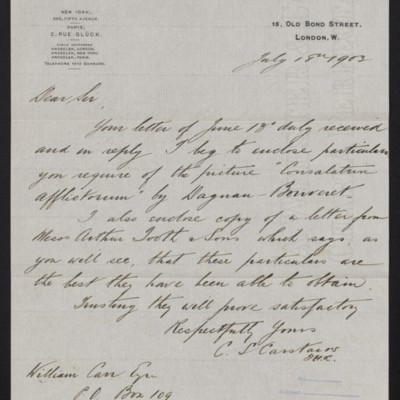 Letter fro Charles S. Carstairs to William Carr, 18 July 1903