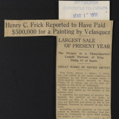 """Clipping, """"Henry C. Frick Reported to Have Paid $500,000 for a Painting by Velasquez,"""" 1 March 1911"""