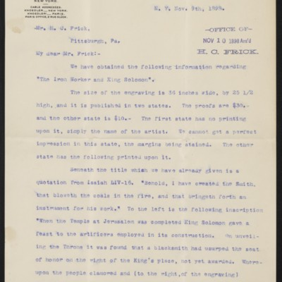 Letter from M. Knoedler & Co. to Henry Clay Frick, 9 November 1898