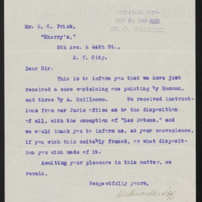 Letter from M. Knoedler & Co. to Henry Clay Frick, 22 September 1904