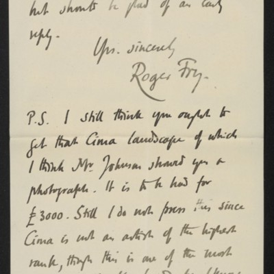Letter from Roger Fry to [H.C.] Frick, 10 July 1911 [page 6 of 8]