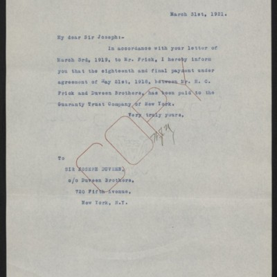 Letter from W.J. Naughton to Joseph Duveen, 31 March 1921