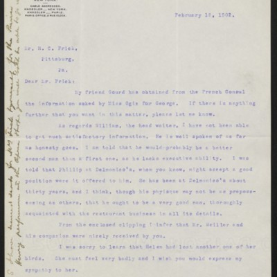 Letter from Roland F. Knoedler to Henry Clay Frick, 18 February 1902
