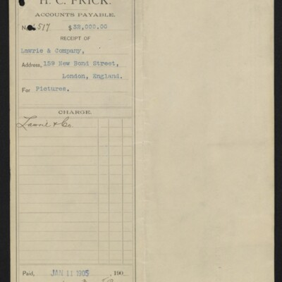 Voucher from H.C. Frick to Lawrie & Co., 11 January 1905 [front]