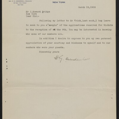 Letter from H.C. Mendenhall to J. Howard Bridge, 18 March 1918