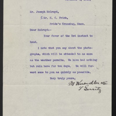 Letter from M. Knoedler & Co. to Henry Clay Frick, 4 November 1910