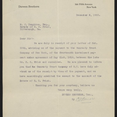 Letter from Duveen Brothers to W.J. Naughton, 2 December 1920