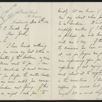 Letter from H. Silva White to H.C. Frick, 6 December 1912 [page 1 of 2]