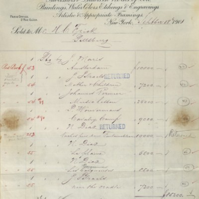 M. Knoedler & Co. Invoice, 18 September 1901