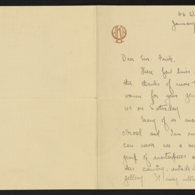Letter from Alma Ash Klaw to [H.C.] Frick, 27 January 1918 [page 1 of 2]