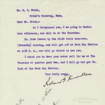 Letter from Roland F. Knoedler to Henry Clay Frick, 10 November 1911