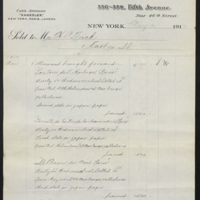 Invoice from M. Knoedler & Co. to Henry Clay Frick, 31 May 1917 [page 2 of 4]