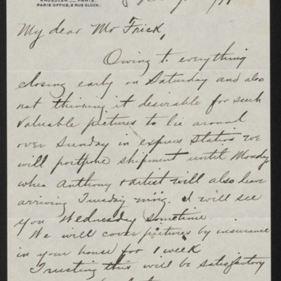 Letter from Charles S. Carstairs to Henry Clay Frick, 28 August 1897