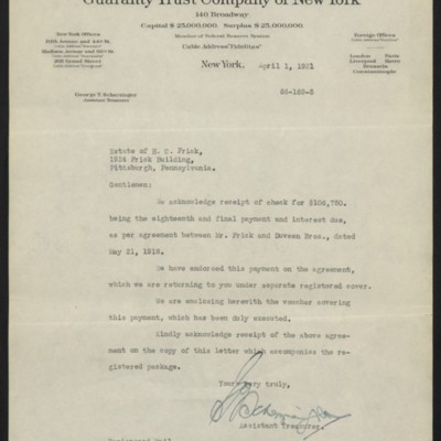 Letter from G.T. Scherzinger to Estate of Henry Clay Frick, 1 April 1921
